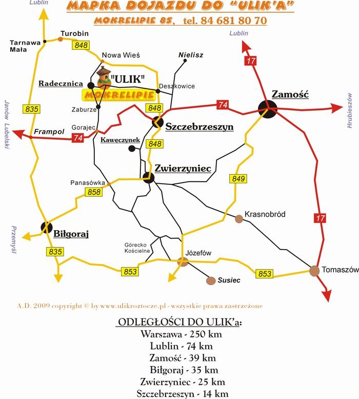Mapa dojazdu do pasieki ULIK na Roztoczu