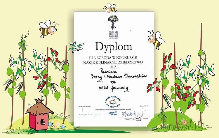 Dyplom dla pasieki ULIK za regionalny miód fasolowy