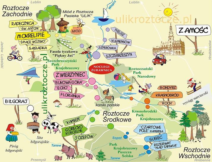 Mapa atrakcji turystycznych na Roztoczu